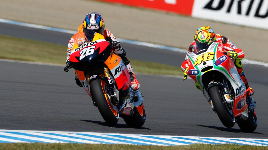 Dani Pedrosa, Valentino Rossi, Repsol Honda Team, Ducati Team, Motegi FP2