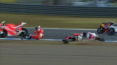 Motegi 2012 - Moto3 - RACE - Action - Folger and Salom - Crash