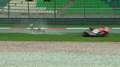 Sepang 2012 - Moto2 - FP2 - Action - Alessandro Andreozzi - Crash