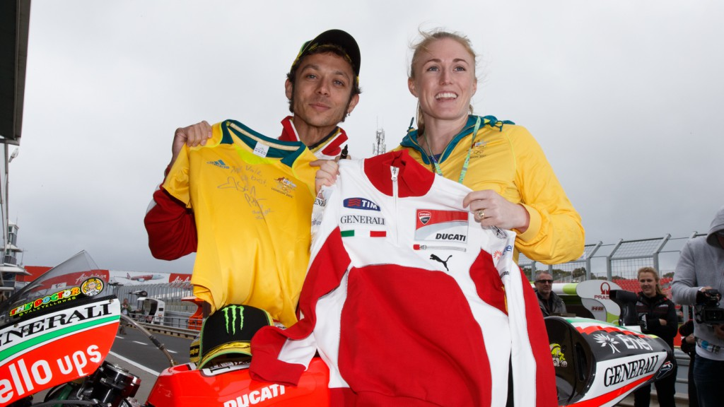 Valentino Rossi, 2012 Olympic champion Sally Pearson, Phillip Island