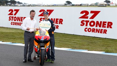 Linfox' Andrew Fox and Casey Stoner at Phillip Island Turn 3, Stoner Corner