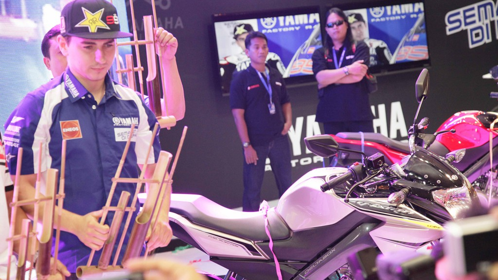 Jorge Lorenzo at the Yamaha V-Ixion launch in Indonesia