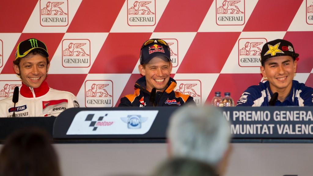 Rossi, Stoner, Lorenzo, Gran Premio Generali de la Comunitat Valenciana Press Conference