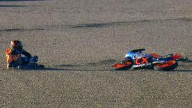Valencia 2012 - Moto3 - FP3 - Action - Finsterbusch and Oliveira - Crash