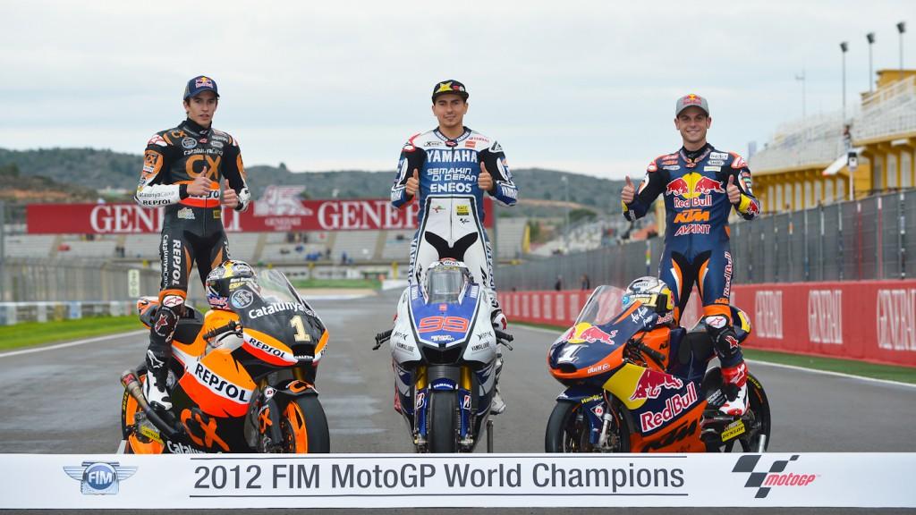 2012 World Champions marquez, Lorenzo, Cortese