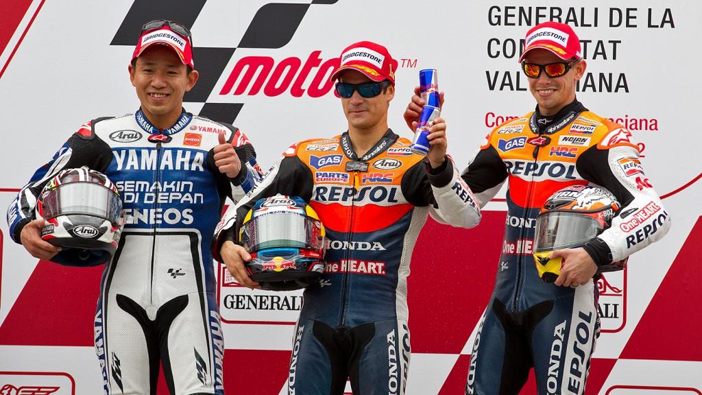 Nakasuga, Pedrosa, Stoner, Yamaha Factory Racing, Repsol Honda Team, Valencia RAC