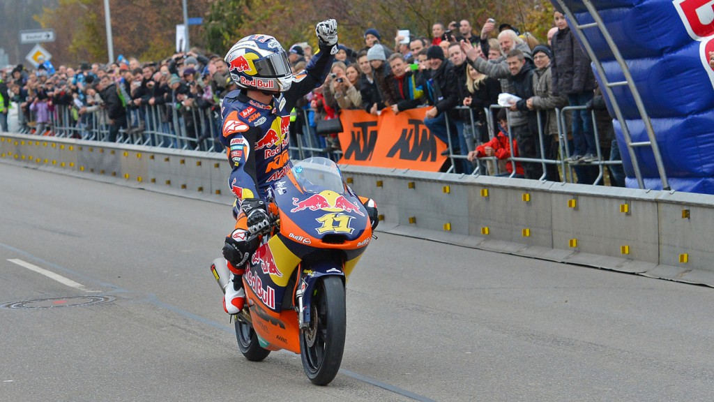 Sandro Cortese celebrates Moto3 World Title in hometown Berkheim - © Fritz Glänzel