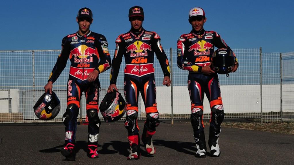 Luis Salom, Arthur Sissis and Zulfahmi Khairuddin, Red Bull KTM Ajo - Almeria Circuit