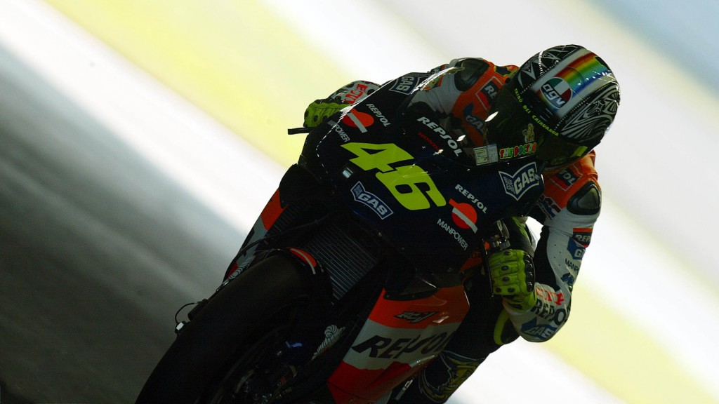 Valentino Rossi at the 2003 Pacific GP by Yves Jamotte