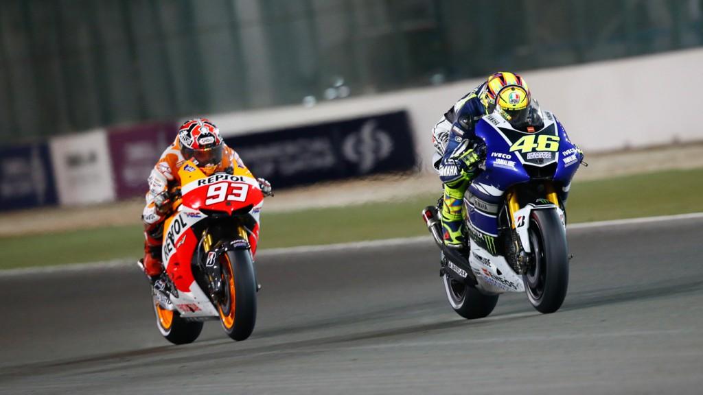 Valentino Rossi, Marc Marquez, Yamaha Factory Racing, Repsol Honda Team, Qatar RAC