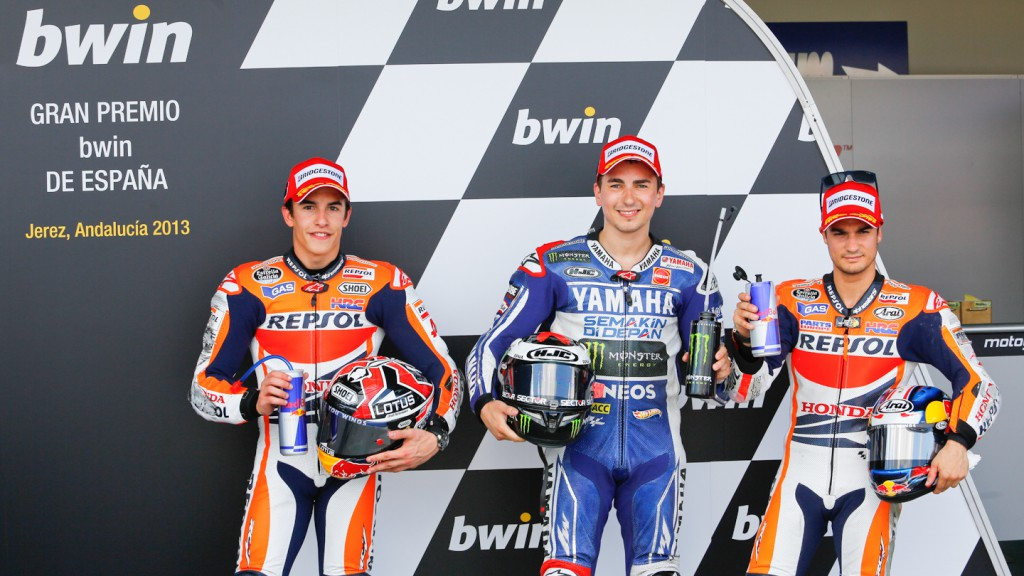 Marquez, Lorenzo, Pedrosa, Repsol Honda Team, Yamaha Factory Racing, Jerez Q2