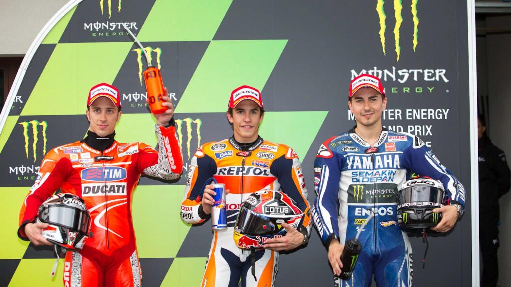 Dovizioso, Marquez, Lorenzo, Ducati Team, Repsol Honda Team, Yamaha Factory Racing, Le Mans Q2