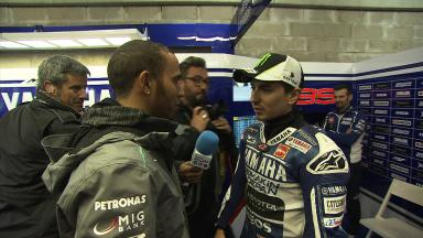 Lewis Hamilton catches up with Rossi and Lorenzo at Le Mans