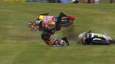 Le Mans 2013 - Moto3 - RACE - Action - Niklas Ajo and Zulfahmi Khairuddin - Crash