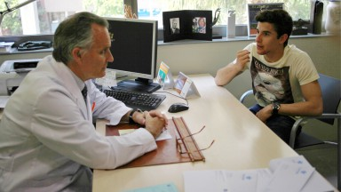 Marc Marquez undergoes medical examination at Hospital Universitario Quiron Dexeus