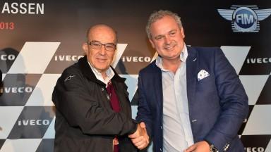 Dorna Sports CEO Carmelo Ezpeleta, President TT Assen circuit Arjan Bos