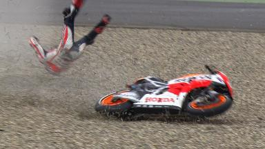 Marquez escapes serious injury in FP3 crash