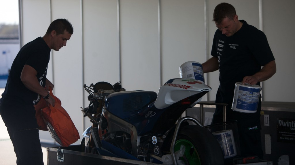 Avintia Blusens garage - MotoGP™ Test Build-up - Termas de Rio Hondo, Argentina