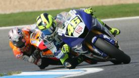 Fiat Yamaha's Valentino Rossi took a wonderful win at Estoril this afternoon following a brilliant battle at the front with Repsol Honda's Dani Pedrosa to put Casey Stoner's title celebrations on hold.