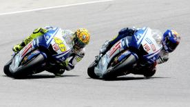 An amazing head-to-head battle between Yamaha team-mates Valentino Rossi and Jorge Lorenzo saw the Italian take his 99th Grand Prix victory by a 0.095s margin at Catalunya.