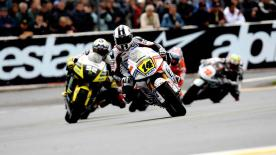 In a hectic French MotoGP race, which started on a wet surface and was completed on slicks, Jorge Lorenzo judged conditions perfectly to take his second win of the year.