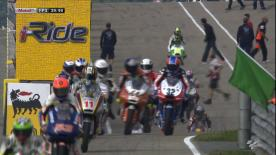 Luis Salom has led the final Moto3™ practice session ahead of Qualifying for the eni Motorrad Grand Prix Deutschland. The Red Bull KTM Ajo man was the only runner to dip underneath Alex Rins' best time from Friday, while the Estrella Galicia 0,0 rider was second from home favourite Jonas Folger of Mapfre Aspar Team Moto3.