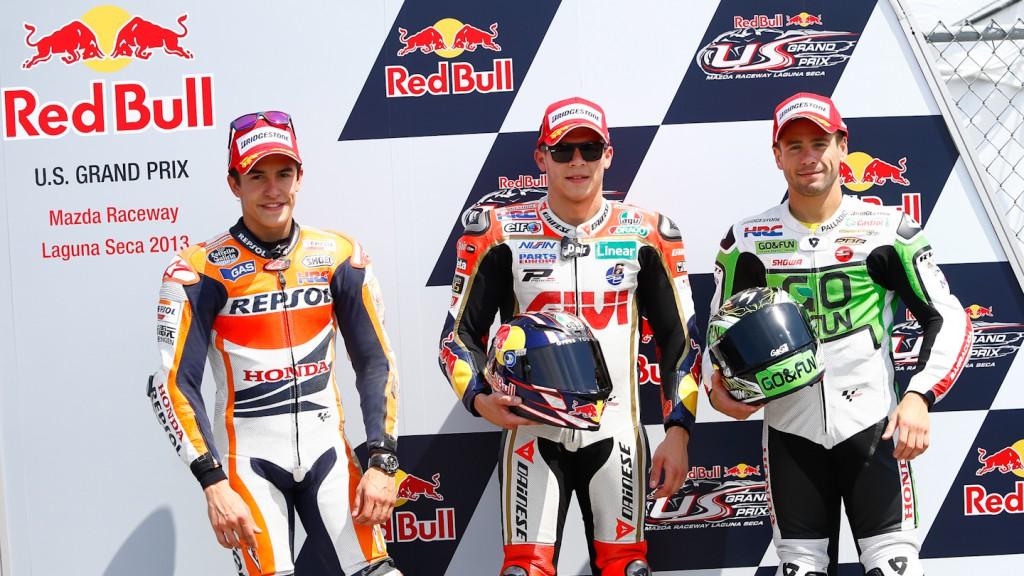 Marquez, Bradl, Bautista, Repsol Honda Team, LCR Honda MotoGP, GO&FUN Honda Gresini, Laguna Seca Q2