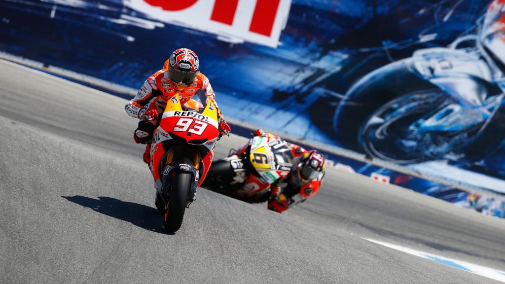 Marc Marquez, Stefan Bradl, Repsol Honda Team, LCR Honda MotoGP, Laguna Seca RAC