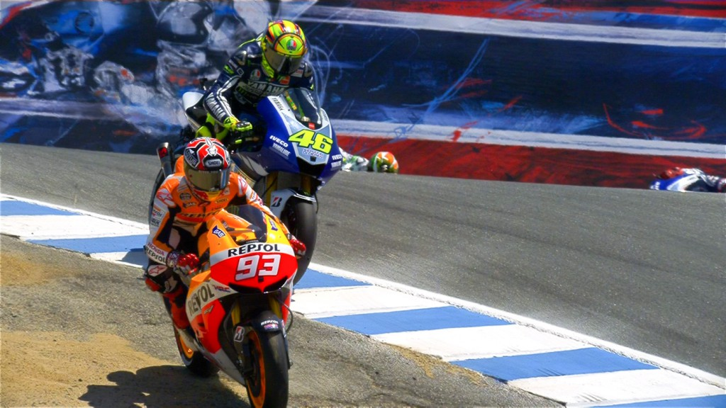 Marc Marquez, Valentino Rossi, Repsol Honda Team, Yamaha Factory Racing, LAguna Seca RAC