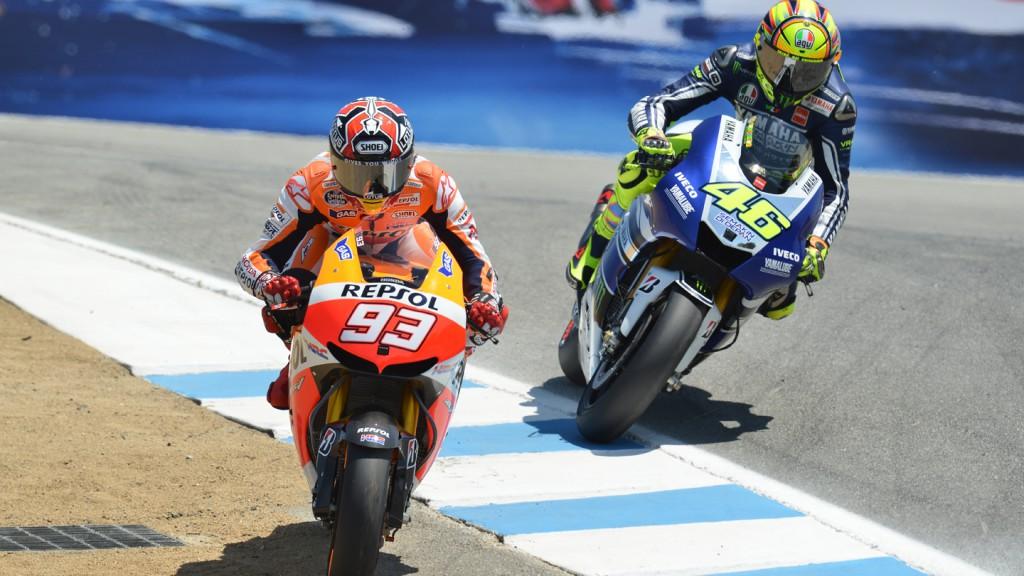 Marquez, Rossi, Repsol Honda Team, Yamaha Factory Racing, Laguna Seca RAC © Gigi Soldano / Milagro