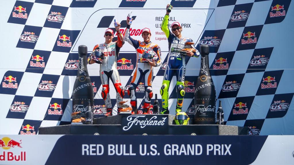 Bradl, Marquez, Rossi, LCR Honda MotoGP, Repsol Honda Team, Yamaha Factory Racing, Laguna Seca RAC