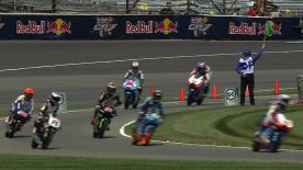 Alex Rins will start on pole position for the Moto3™ Red Bull Indianapolis Grand Prix, sharing the front row with Estrella Galicia 0,0 teammate Alex Marquez and Team Calvo's Maverick Viñales. Championship leader Luis Salom (Red Bull KTM Ajo) will line up tenth, but was fortunate to escape major injury in a high-speed crash.