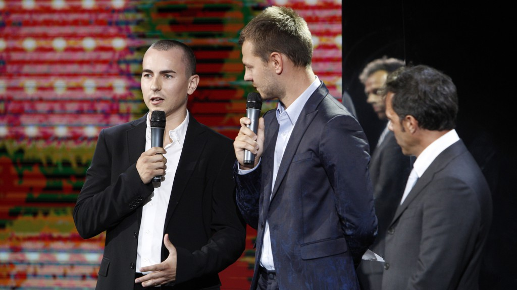 Jorge Lorenzo and Loris Capirossi at Sky Italia presentation held in Milan