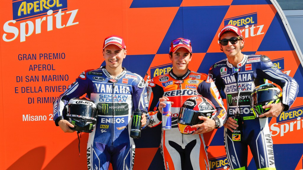 Lorenzo, Marquez, Rossi, Yamaha Factory Racing, Repsol Honda Team, Misano Q2