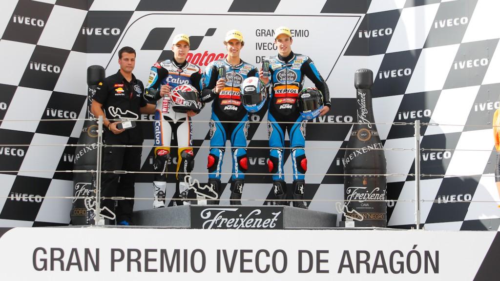 Viñales, Rins, Marquez, Team Calvo, Estrella Galicia 0,0, Aragón RAC