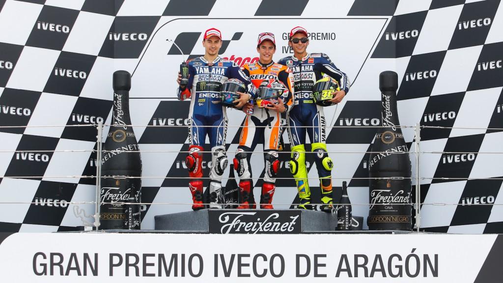 Lorenzo, Marquez, Rossi, Yamaha Factory Racing, Repsol Honda Team, Aragón RAC