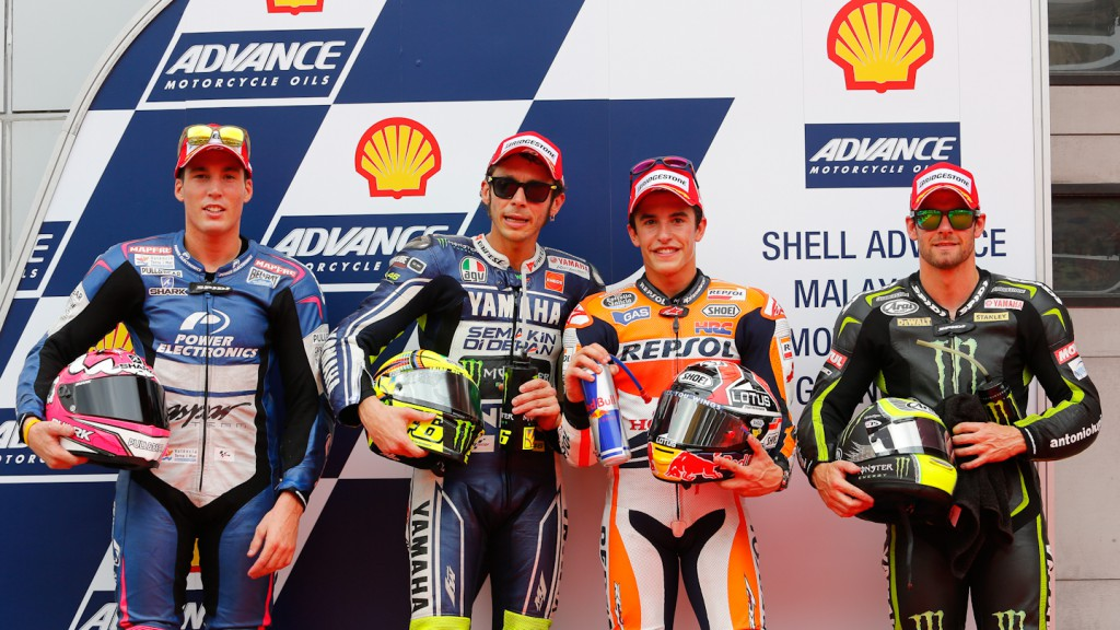 Espargaro, Rossi, Marquez, Crutchlow, Power Electronics Aspar, Yamaha Factory Racing, Monster Yamaha Tech 3, Sepang Q2