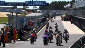 Maverick Viñales went quickest as Moto3™ practice continued at Phillip Island on Friday afternoon. The Team Calvo rider posted a new record for the resurfaced Australian circuit, joined inside the top three by Jonas Folger and Zulfahmi Khairuddin.