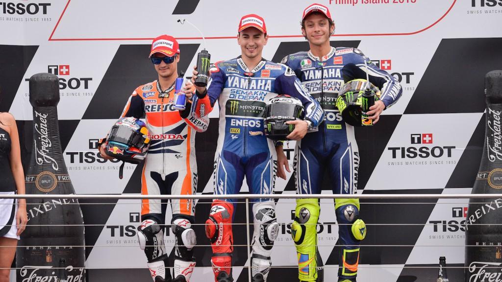 Pedrosa, Lorenzo, Rossi, Repsol Honda Team, Yamaha Factory Racing, Phillip Island RAC