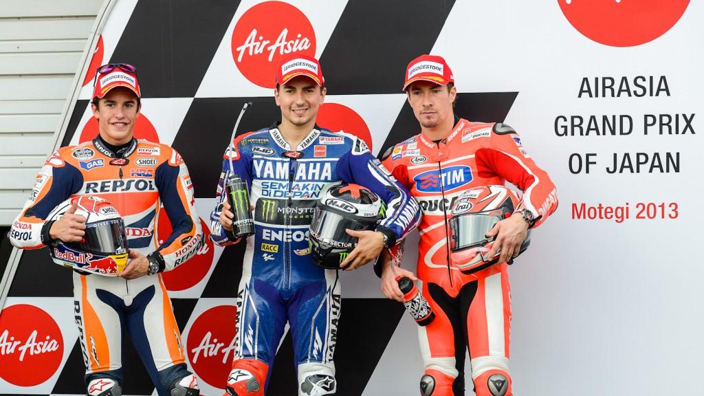 Marquez, Lorenzo, Hayden, Repsol Honda Team, Yamaha Factory Racing, Ducati Team, Motegi QP