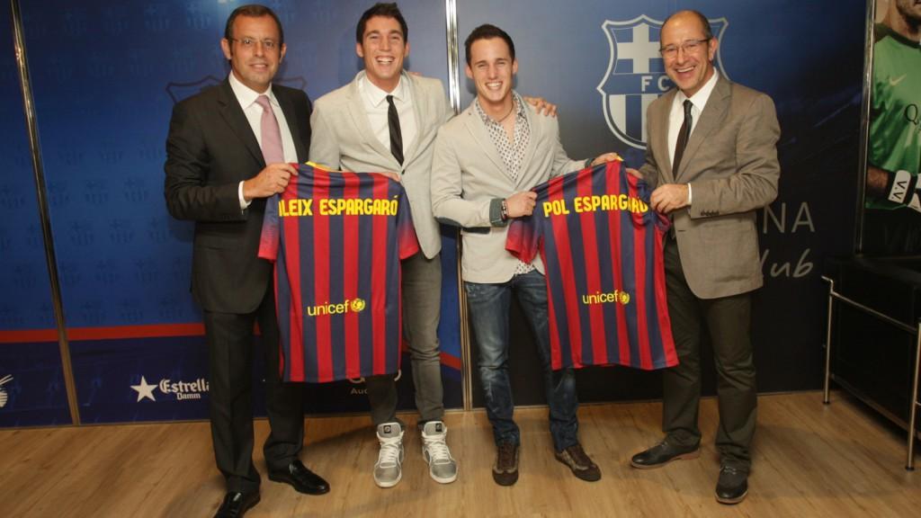 FCB President Sandro Rosell, Aleix Espargaro, Pol Espargaro, FCB Director Manel Arroyo