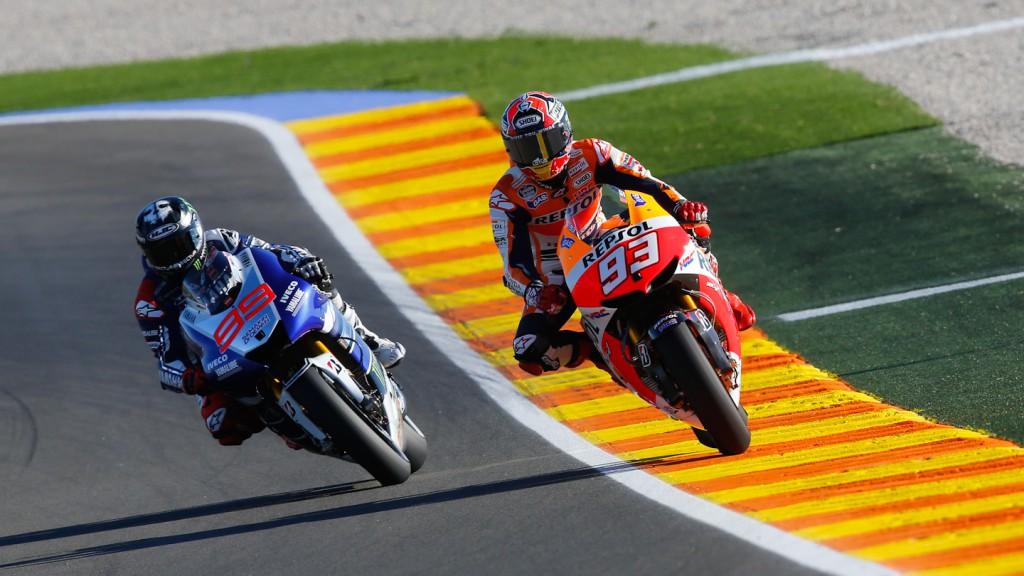 Marc Marquez, Jorge Lorenzo, Repsol Honda Team, Yamaha Factory Racing, Valencia FP1