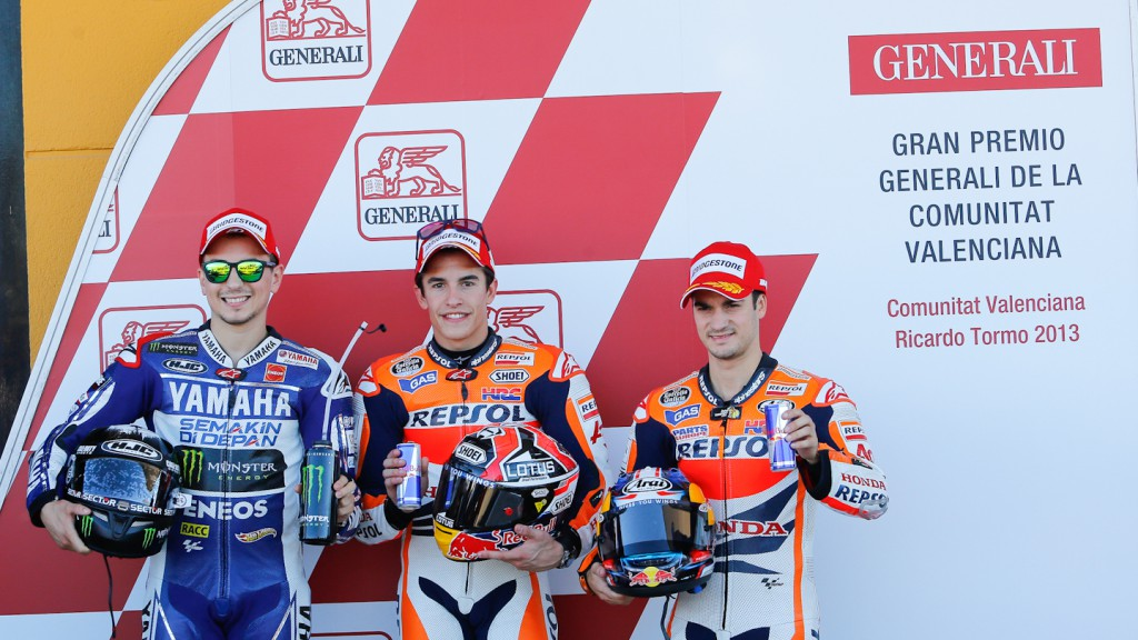 Lorenzo, Marquez, Pedrosa, Yamaha Fatory Racing, Repsol Honda Team, Valencia Q2