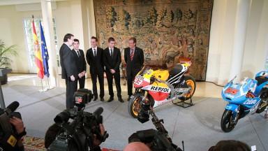 Spanish Prime Minister Mariano Rajoy and 2013 MotoGP World Champions Marc Marquez, Pol Espargaro, Maverick Viñales , Madrid