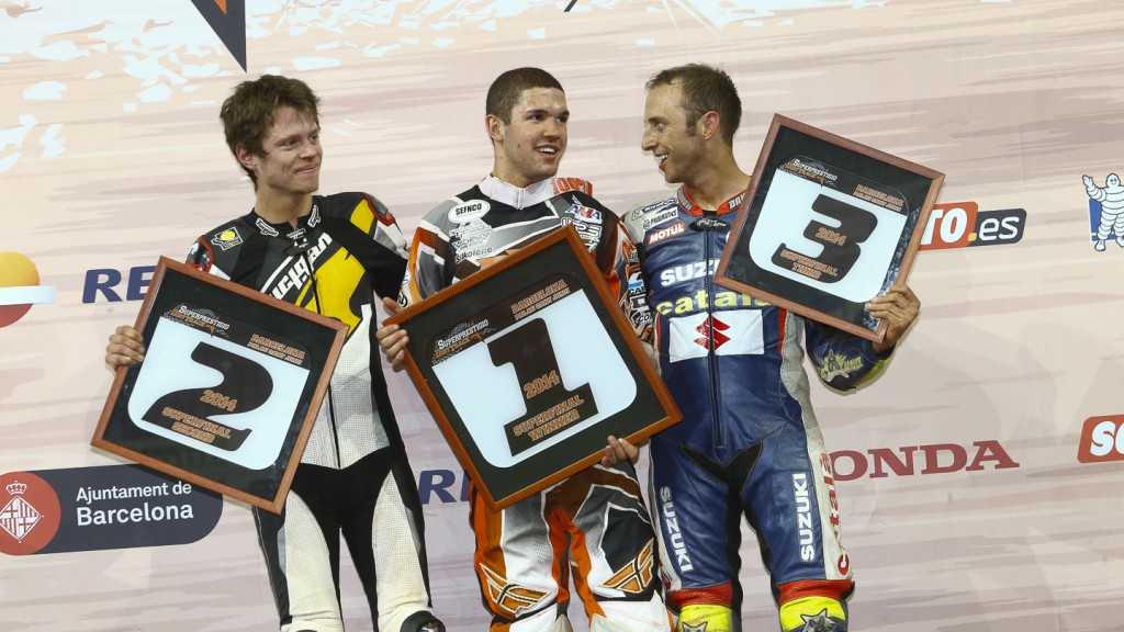 Tito Rabat, Brad Baker, Keny Noyes, 2014 Superprestigio Dirt Track