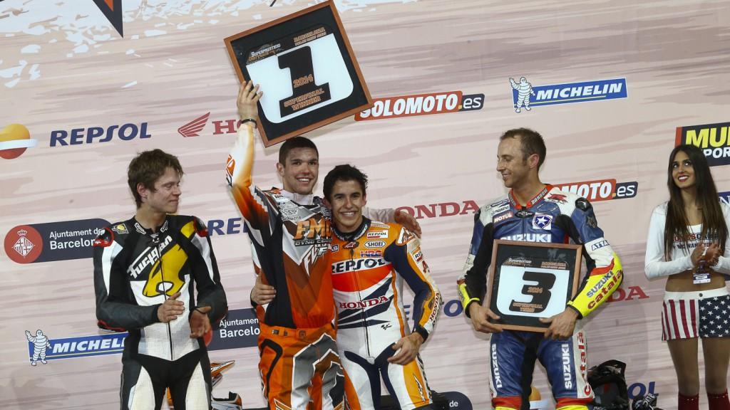 Tito Rabat, Brad Baker, Marc Marquez, Keny Noyes, 2014 Superprestigio Dirt Track