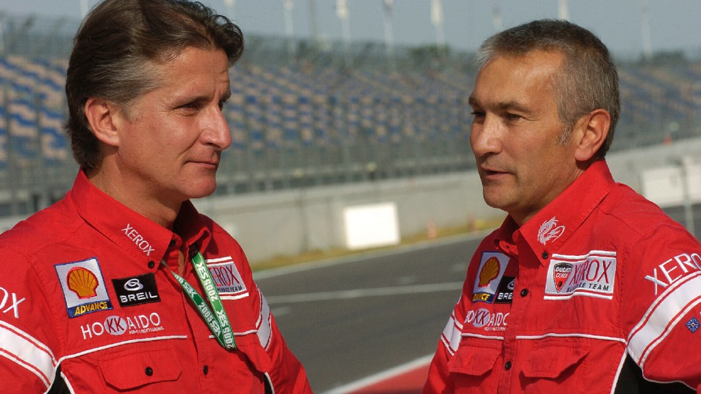 Paolo Ciabatti & Davide Tardozzi at the helm of the Ducati Superbike Team in 2005