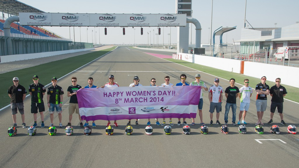 MotoGP riders celebrate the International Women's Day