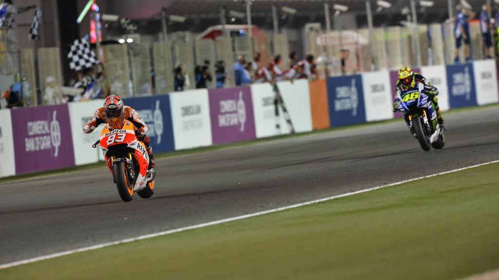 Marquez, Rossi, Repsol Honda Team, Movistar Yamaha MotoGP, QAT RAC