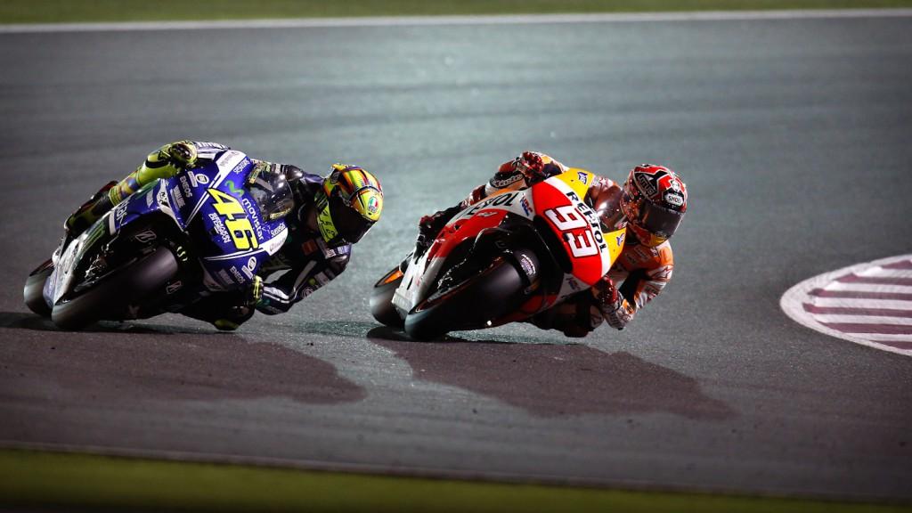 Valentino Rossi, Marc MArquez, Movistar YAmaha MotoGP, Repsol Honda Team, QAT RAC